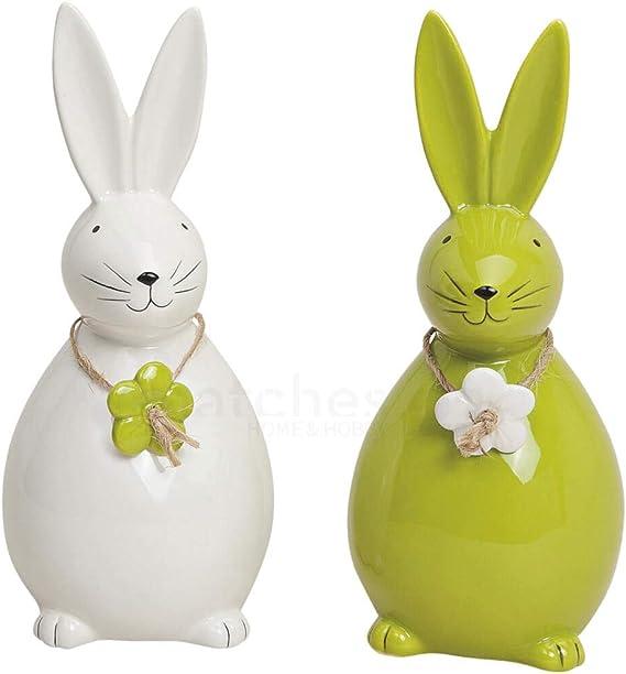 7 cm Colore: Bianco matches21 Set di 4 Statuette Decorative a Forma di Coniglietto Pasquale in Porcellana