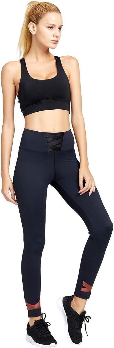 light /& leaf Womens Front Adjustable Racerback Sports Bra Full Mesh Support Workout Bras