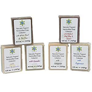 Soap Bar Variety Pack - All Natural Hand Poured Soap Bars - 6 Different Peaceful Scented Soaps