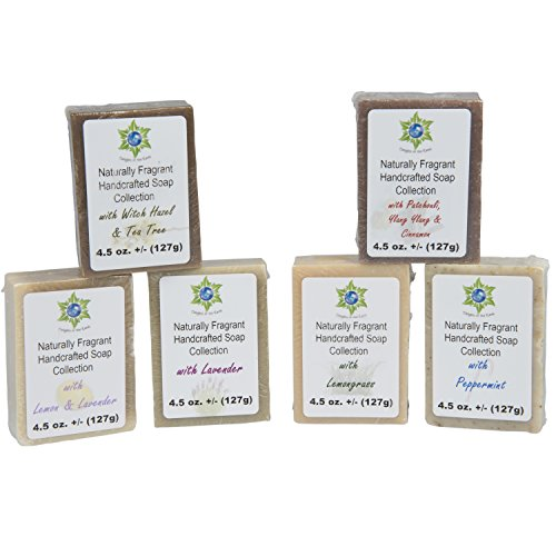 Soap Bar Variety Pack - All Natural Hand Poured Soap Bars - 6 Different Peaceful Scented ()
