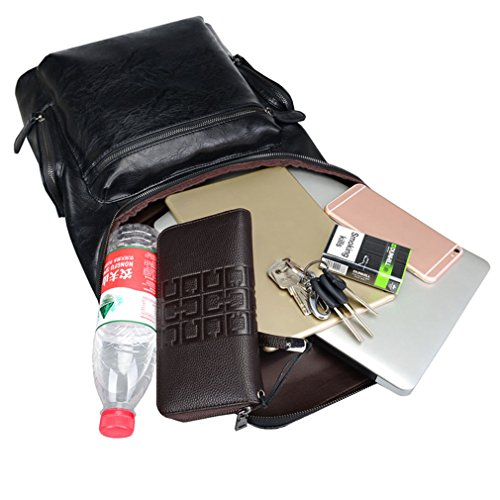 2640279a2848 UKXMNC Designer Men Leather Backpack Men's School Bag Bagpack Black Brown  Travel Bag Shoulder Bag brown