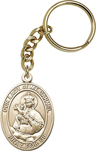 Bonyak Jewelry Gold-Plated Oxide Our Lady of Mount Carmel/Scapular Keychain
