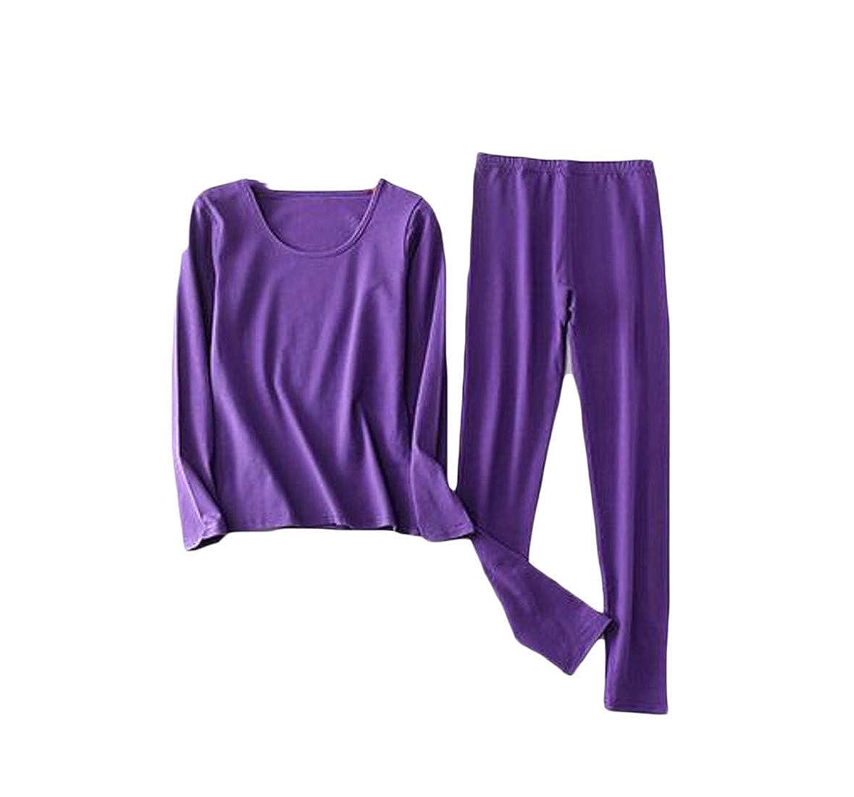 GH Womens Baselayer Plus Size Warm 2PCS Thermal Underwear Sets Purple M