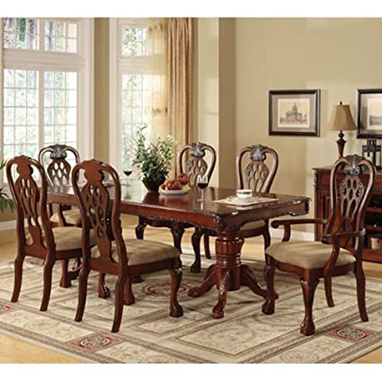 247SHOPATHOME IDF 3222T 7PC Dining Room Sets, Cherry