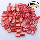 Glarks 100pcs 22-16 Gauge Fully Insulated Female Male Spade Nylon Quick Disconnect Electrical Insulated Crimp Terminals Connectors Assortment Kit