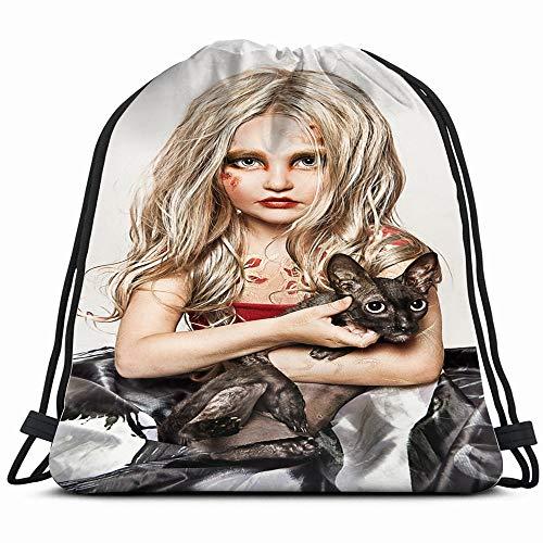 Portrait Blonde Girl Black Cat Beauty Fashion Skull People Drawstring Backpack Gym Dance Bags For Girls Kids Bag Shoulder Travel Bags Birthday Gift For Daughter Children Women]()