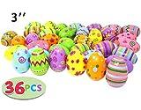 36 PCs Jumbo Plastic Printed Bright Easter Eggs, Over 3