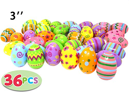 36 PCs Jumbo Plastic Printed Bright Easter Eggs, Over 3'' tall for Easter Hunt, Basket Stuffers Fillers, Classroom Prize Supplies, Filling Treats and Party -