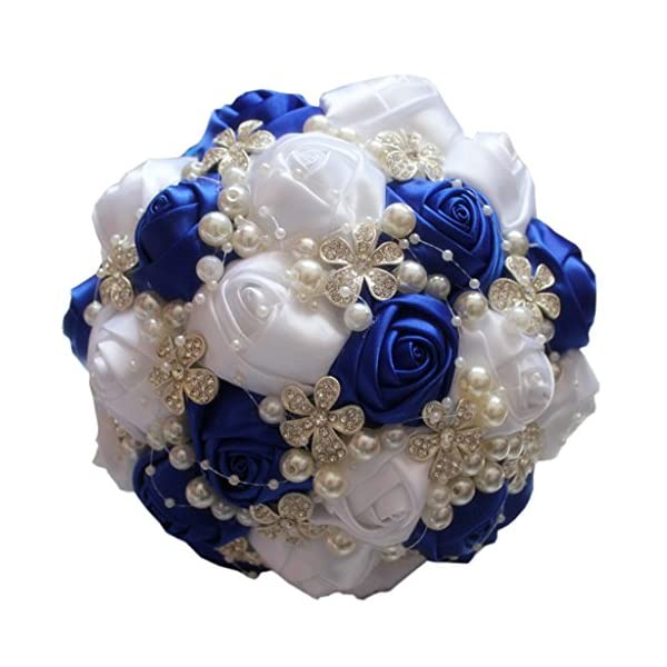S-SSOY Hand Made Shining Crystal Rhinestones Pearl Silk Rose Bridesmaid Bridal Artificial Bouquets Customization Bride Holding Bouquet Wedding with Corsage Flower, A-018, Blue+White