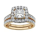 18K Yellow Gold over Sterling Silver Princess Cut Cubic Zirconia Halo Bridal Ring Set