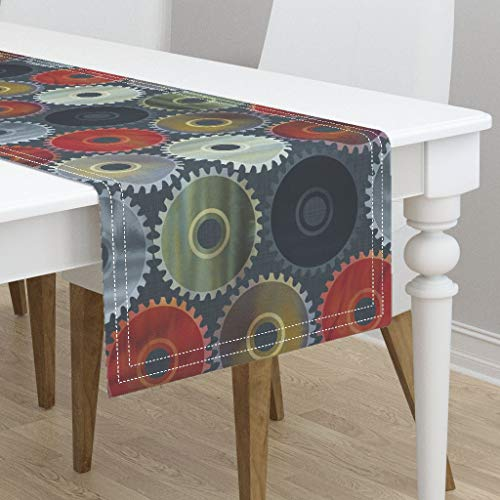 Table Runner - Saw Circular Saw Power Tools Masculine Saw Tools Metal Rust Watercolour by Spellstone - Cotton Sateen Table Runner 16 x 108