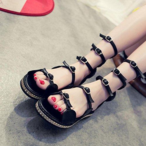 Womens Sandals,Clode® Fashion Ladies Girls Bohemia Hollow Bandage Metal Flat Beach Gladiator Sandals Summer Leisure Beach Shoes Black