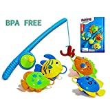 A-FOREST Bath Fishing Toy 4pcs with Enjoy Bathing Funtime Fishing Game Great Gift for Boys Girls for 3 Years Old Early Education