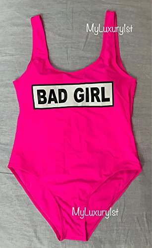 397c17dd7d22f Amazon.com  Padded 1 Piece Bright Pink BAD GIRL Graphic Bathing ...