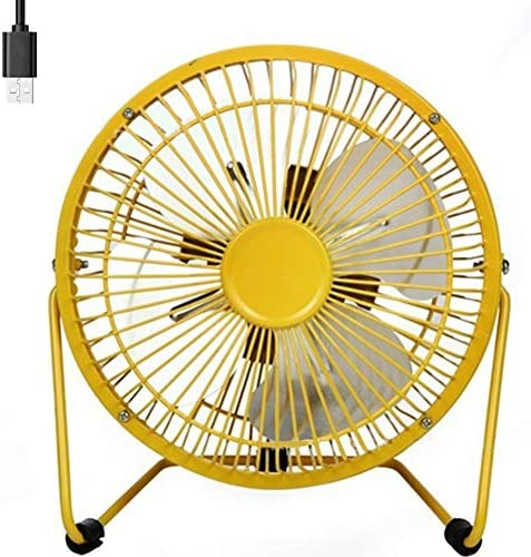 USB Fan 4 Inch Mini USB Desk Table Fan Personal Portable Desktop Cooling Fan for Camping Home Office Outdoor Travel, Yellow