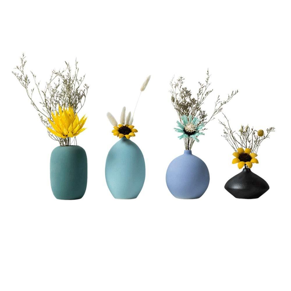 花瓶、モダンなミニマリストの庭の花瓶の装飾テレビのキャビネットの装飾小さな新鮮なドライフラワーの花瓶のセラミックジュエリー - (ドライフラワーを含む)4セット B07RL7R44M