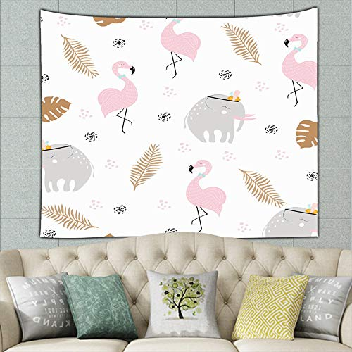 Cute Pastel African Animals Wildlife Elephant Mural for Bedroom Living Room Dorm Home Décor 50ʺ × 60ʺ