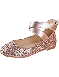 Girl Kids Dress Ballet Flat Elastic Ankle Strap Faux...