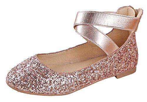 Anna Dana-20KB Girls' Dress Ballet Flat Faux Suede Shoes, Champagne 11 -