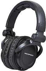 Monoprice Premium Hi-Fi Dj Style Over-The-Ear Pro Headphones with a Single-Button