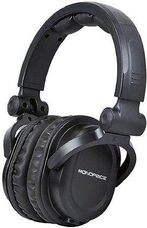 Monoprice Premium Hi-Fi Dj Style Over-The-Ear Pro Headphones with a Single-Button Inline Microphone/Controller, Black