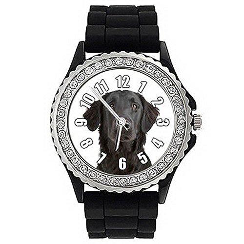 Flat Watch Retriever (JWS0014 Flat-Coated Retriever Dog Crystal Rhinestone Jelly Silicone Wrist Watch)