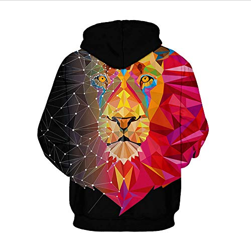 Unisexe Lion Printed Galaxy Capuche Pull À Longues Sweats Red Digital Manches Casual Plaid Imprimé Hoodie Black 3d Takushihf shirts And Sweat dxqRwpd