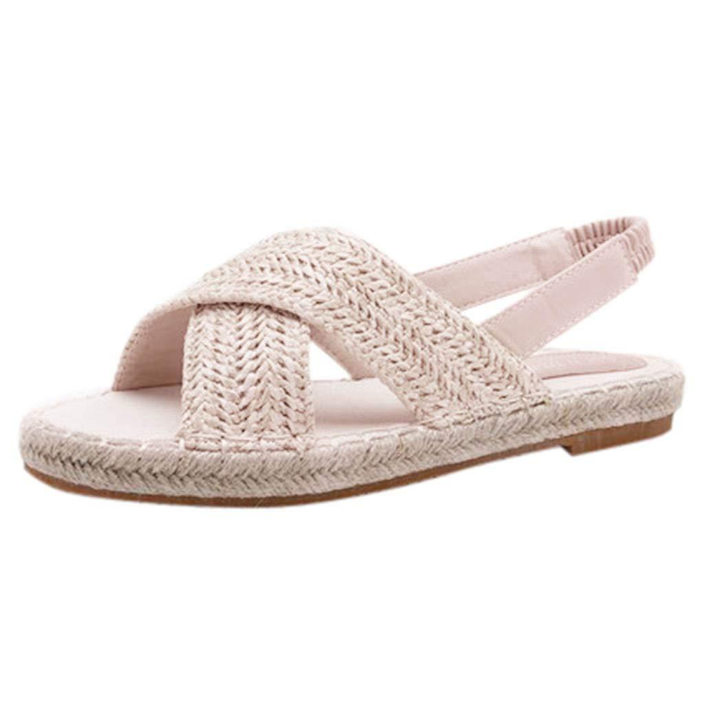 0c49075473f35 Amazon.com: Women Flat Sandals Cross Straw Sandals Elastic Band of ...