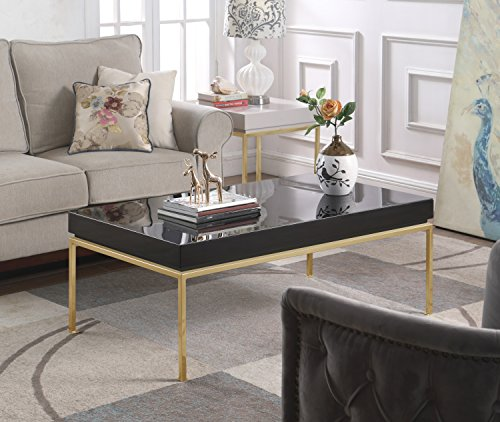 Iconic Home Alcee Center Coffee Table Rectangular Frame High Sheen Lacquer Finish Top Gold Plated Metal Legs, Modern Contemporary, Black