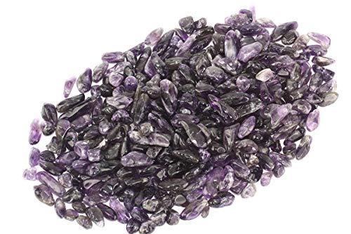 (ZenQ 1 lb Amethyst Tumbled Stone Chips Crushed Natural Crystal Quartz Pieces)