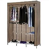 Homdox Portable Wardrobe Storage Closet Non-Woven Free Standing Garment Organizer Double Rod Storage Organizer (Coffee)