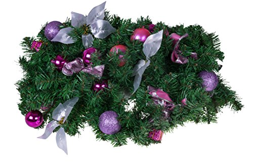 Christmas Tree Branch Garland by Clever Creations | Pink and Purple Shatter Resistant Ornaments and Silver Poinsettias | Festive Holiday Dcor | Poseable Branches | Artificial Pine Needles | 8.5' Long