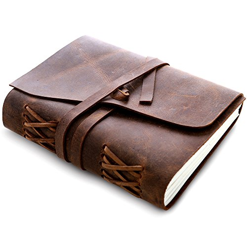 Antique Leather Cover Blank Pages Thick Notebook Notepad - 4