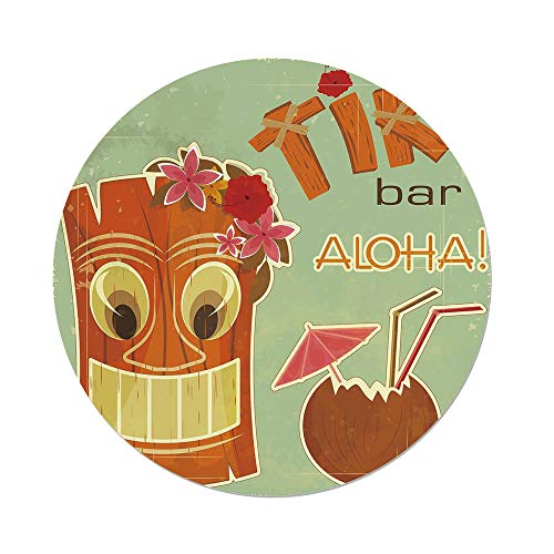 Polyester Round Tablecloth,Tiki Bar Decor,Invitation to Tiki Bar Old Fashion Display Coconut Drink Mask Flowers Print Decorative,Multicolor,Dining Room Kitchen Picnic Table Cloth Cover,for Outdoor In -