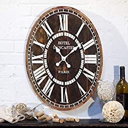 MISC Brown Grey Oval Wall Clock Rustic Farmhouse Theme Distressed Pattern White Roman Numerals Paris France Frame for Office Living Area Bedroom, Wood