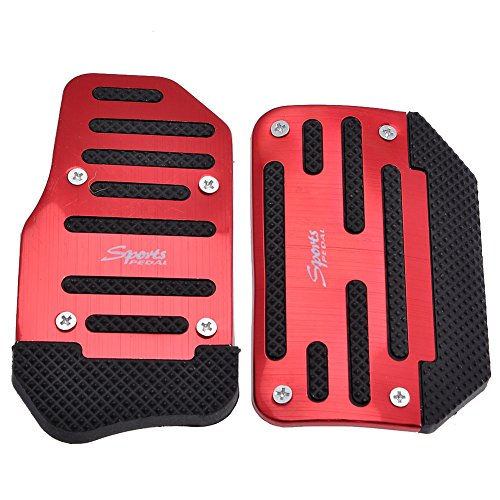 - Yoption Automatic Car Auto Non Slip Sports Aluminium Alloy Automatic Car Auto Vehicle Pedal Foot Treadle Foot Brake Cover Pad 2pcs/set (Red)