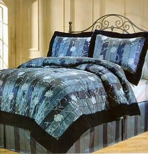 Amazon.com: Satin Comforter Set Navy Blue Queen: Home