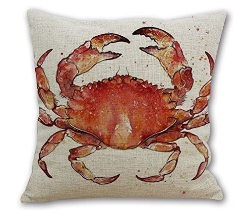 Red Crab (Onker Cotton Linen Square Decorative Throw Pillow Case Cushion Cover 18