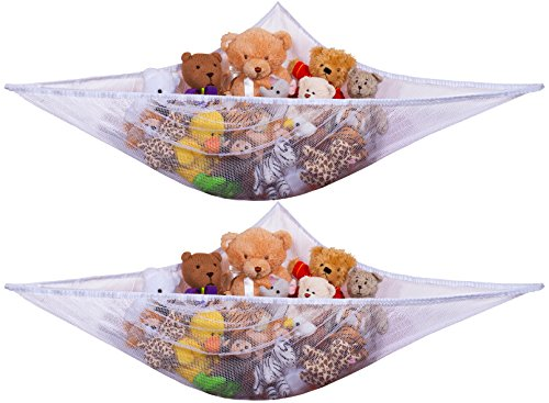 Jumbo Toy Hammock -2PACK- Organize stuffed animals or children's toys with this mesh hammock. Looks great with any décor while neatly organizing kid's toys and stuffed animals. Expands to 5.5 feet. from Handy Laundry