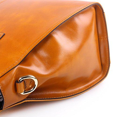 19c7b34c8d2 Yafeige Womens/Lady's Handbag Vintage Luxury Wax Genuine Leather Tote  Shoulder Bag Satchel Purse (Brown)