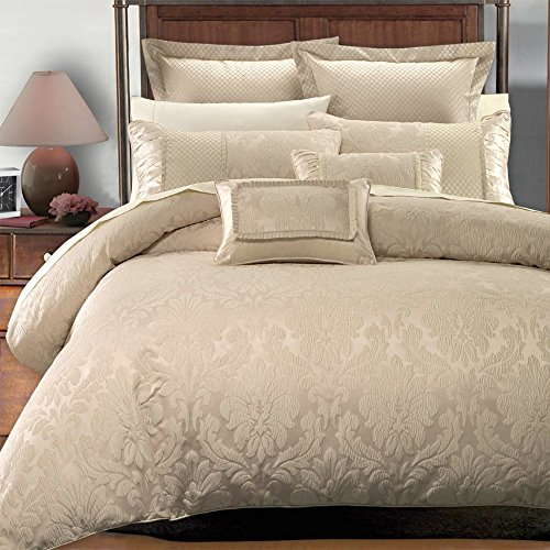 Deluxe & Rich contemporary Jacquard design in warm stylish tones Sara Duvet Cover Set, Elegant and Contemporary bedding, 7 piece King / California King Size Duvet Cover Set, Multi-tone of Beige