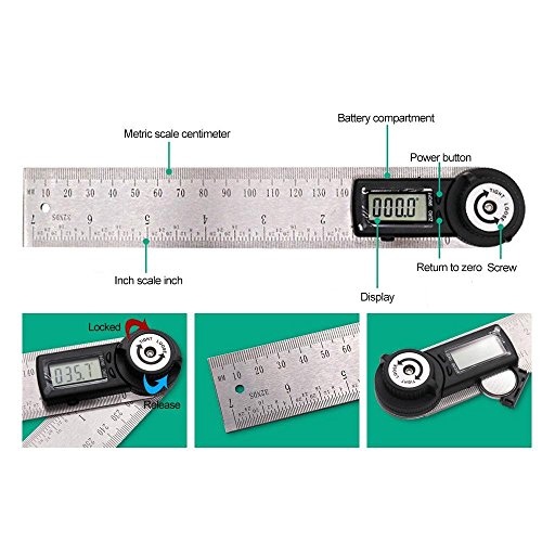 KOBWA Digital Angle Ruler with LCD Display Angle Finder Protractor Gauge Ruler 200mm Measure Tools by KOBWA (Image #2)
