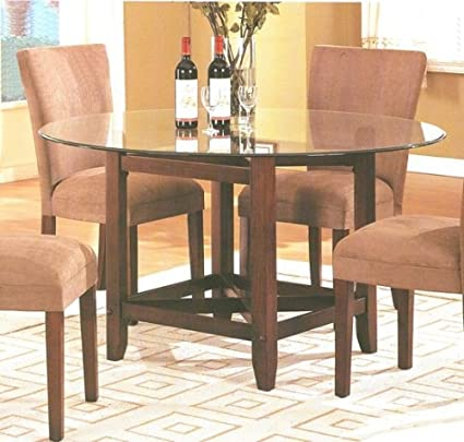 Amazon Com Brown Finish Wood Base Round Glass Top Dining Table