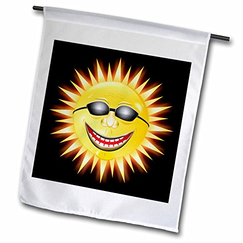 - 3dRose fl_18159_1 Smiling Sunshine a Happy Sunny Face Wearing Sunglasses with a Smile Garden Flag, 12 by 18-Inch