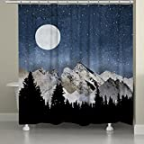 Laural Home MNM72SC midnight Mountains Shower Curtain,Navy/Gray