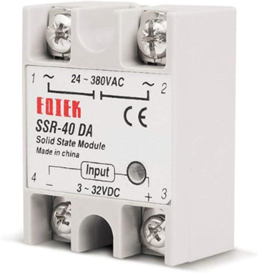 BCVBFGCXVB Blanc Relais /à semi-conducteurs DC-AC 10A 25A 40A 60A 80A 100A 12V 3-32V DC /À 220V 24-380V AC Charge SSR monophas/é pour contr/ôle de temp/érature