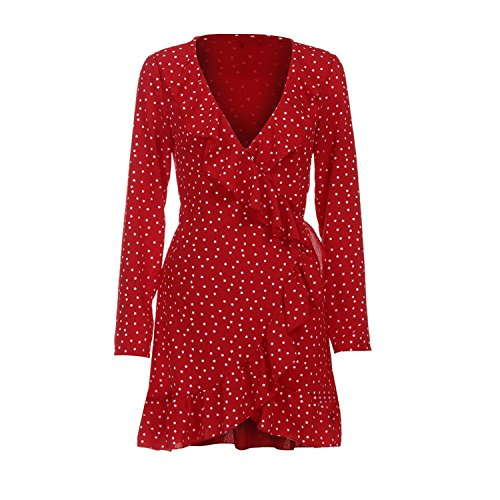- Women Autumn V Neck Mini Dress Beach Party Mini Dress Ruffles Chiffon Casual V-Neck Star Print Red L