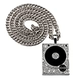 Tidoo Jewelry Mens Silver Plated Hiphop Chain Necklace with Phonograph Pendant Jewelry