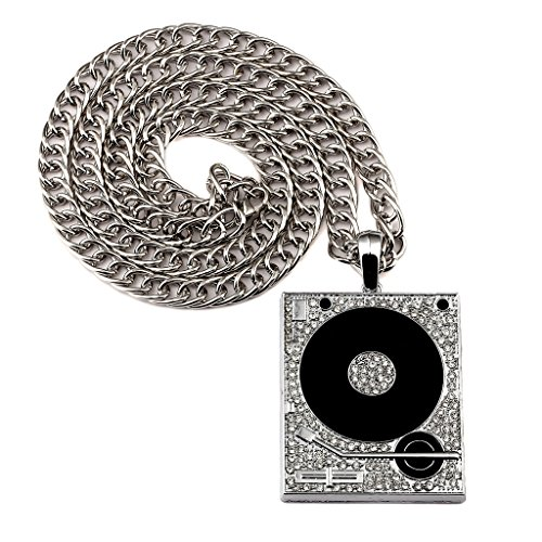 Tidoo Jewelry Mens Silver Plated Hiphop Chain Necklace with Phonograph Pendant Jewelry by TIDOO