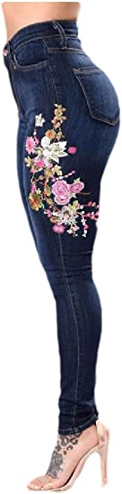 cheelot Women Washed Ripped Hole Stretch Over Waist Embroidered Slim Jeans